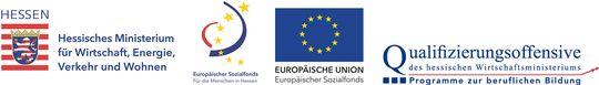 Logos: Hessisches Ministerium für Wirtschaft, Energie, Verkehr, Wohnen - Europäischer Sozialfond - EU - Qualitätsoffensive